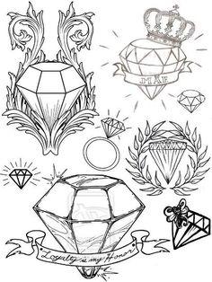Tatuagem de Diamante Desenhos Diferentes