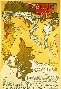 Art Exhibit (Salon of the Hundred) advertising poster by Alphonse Mucha (1896)
