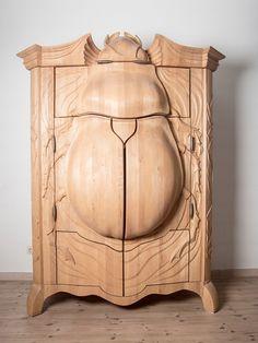 Beetle Wardrobe shelving unit.  Amazing woodwork and layout.