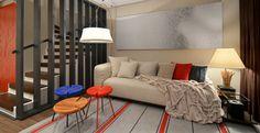 Neste ambiente, o elemento vazado integra a sala com a escada. Projeto do arquiteto Johnny Thomsen.
