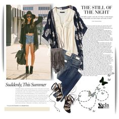 She inside: floral kimono by hafsahshead on Polyvore featuring moda, American…