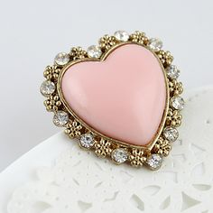 Pink Heart Gold Crystal Flower Ring - would be beautiful brooch.