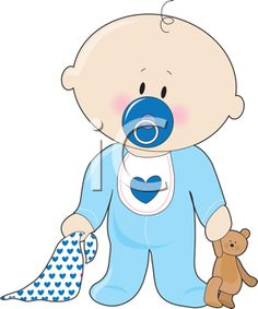 Royalty Free Clipart Image of a Baby Boy With a Soother, Teddy Bear and Blanket