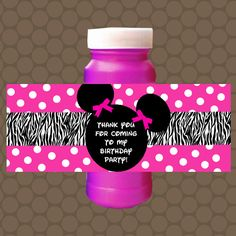 Hot Pink Minnie Mouse Zebra Birthday Bubble Labels by KDesigns2006 Red Minnie Mouse, Pink Minnie, Zebra Birthday, Girl Birthday, Minnie Mouse Birthday Invitations, Bubble Bottle, 1st Birthday Parties, Birthday Ideas, Printable Stickers