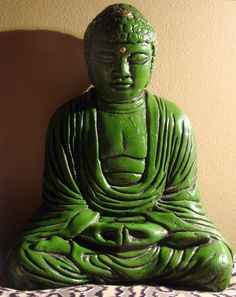Beautiful Green Vintage Ceramic Buddha