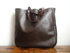 Chocolate Brown Leather Tote by ninamgoth on Etsy, $125.00