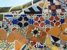 Barcelone, le Park Guëll, mosaiques de Gaudi