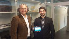 Michael Kohlfürst und Michael Legat bei der Vorstellung der neuen  BewertungsApp an der #FHSalzburg. Die #App PromoRating ist für schnelle und anonyme Bewertungen von Services im Bereich Gastronomie und Hotellerie.