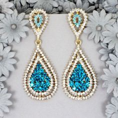 18K Gold GP Blue Clear Crystal Rhinestone Drop shape Chandelier Dangle Earrings  #DropDangle