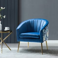 Chair Price, Velvet Armchair, Chair Types, Blue Wood, Accent Chairs For Living Room, Barrel Chair, Living Furniture, Toss Pillows, Side Chairs