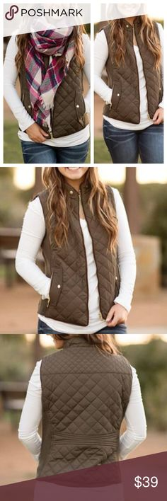 "NEW ARRIVAL  Olive Quilted Vest A must have piece for your wardrobe this Season! Quilted vest features a front zip closure, side zipper pockets, button faux pockets, and stretch-knit side panels. Color: Olive Available in size Small(0/2/4), Medium(6-8), Large(10-12). Measurements from top of shoulder to bottom hem. S-22"", M-22.5"", L-23"". 100% Polyester.  Price is firm unless bundled  2 a T Boutique  Jackets & Coats Vests"