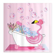 Bubble Bath Time Flamingo Shower Curtain