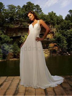 A-line Chiffon Ruched Bodice halter Neckline Sweep Train Wedding Dresses