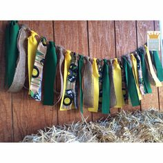 John Deere theme fabric garland banner  This John Deere theme garland is perfect for parties, cake smash sessions, kids room decor and more!