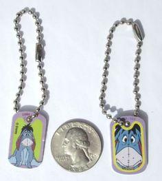 Disney-Eeyore-Purple-Dog-tag-Charm-Key-chain-Backpacks-Purse-Party-Favor