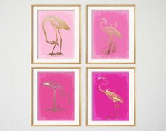 Flamingo Art, FOUR 5x7 prints, Pink Flamingo Prints, Cool Pink, Palm Beach Chic, Hot Pink, Bedroom Wall Art, Pink Chinoiserie, Pink Gold Art
