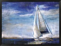 "Liz Jardine - ""Sail Away"" #sailboat #ocean #art  Wow this piece looks great framed up!"