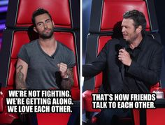 Blake and Adam #StuffCoachesSay #TheVoice