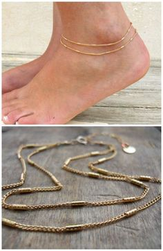 Double layered gold chain anklet