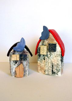 Save 15% set of 2 Country chic style handmade llitle miniature house ceramic house pottery house cottage chic decor