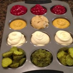 hamburger toppings for BBQ party theme or taco bar with salsa, guac, sour cream, pico