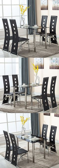 furniture Set 4 Dining Chairs W Open Spots Backrest Leather