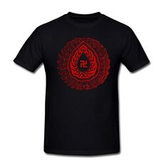 Drong Mens The Mysterious Buddhist Symbol For Peace Auspicious and Blessing TShirt L Black >>> Click image for more details.