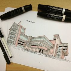 """Architecture - Daily Sketches on Instagram: """"By @syahdaud #arch_more"""""""