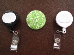 Tiny Flowers on Green Fabric Covered Button by tallulahssatchels (Accessories, Lanyard, badge reel, retractable, badge strap, clip on, lanyard, fabric button, tag holder, id badge reel, name tag, id, velcro button, flower velcro button, flower buttons)