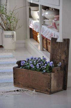 Old wooden box planter