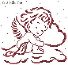 Punto De Cruz sleeping cupid cross stitch - We're less than a month to Valentine's Day, so I hope it's time to bust out the pink and red projects. This Sleeping Cupid pattern from X-Stitch Magic is a cute little pattern tha… Cross Stitching, Cross Stitch Embroidery, Embroidery Patterns, Hand Embroidery, Filet Crochet, Crochet Chart, Crochet Granny, Cross Stitch Alphabet, Cross Stitch Baby