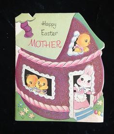 Vintage Die Cut Easter Card Norcross Glittered. Used. 50's.