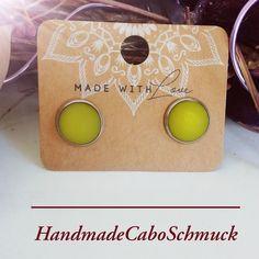 12mm Cabochon Ohrringe Polaris Matt gelb/grün Hänger oder Stecker, Edelstahl oder Bronze