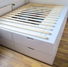 DIY IKEA HACk - Plattform-Bett selber bauen aus Ikea Kommoden /werbung - Ikea Hack Bett selber bauen Anleitung You are in the right place about healt Here we offer you the - Ikea Hack Lit, Ikea Bed Hack, Ikea Furniture Hacks, Diy Garden Furniture, Furniture Projects, Furniture Stores, Ikea Hack Bedroom, Ikea Bedroom Storage, Furniture Nyc