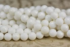 White tridacna bead, faceted round bead, 4-12mm, white bead, loose bead, abacus bead, stone bead, jewelry making, jewelry supply--15 inch