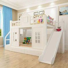 Extraordinary Ideas For Bunk Bed With Slide That Everyone Will Adore – moms.de Extraordinary Ideas For Bunk Bed With Slide That Everyone Will Adore One of the greatest and most fun new bed inventions comes in the form of bunk beds with slides. Bunk Beds For Girls Room, Toddler Bunk Beds, Bunk Bed Rooms, Wood Bunk Beds, Modern Bunk Beds, Kids Bedroom, Fun Bunk Beds, House Bunk Bed, Bedrooms