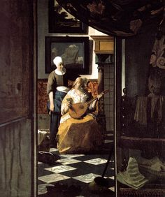 """Johannes Vermeer, """"The Love Letter,"""" c. oil on canvas, Rijksmuseum, purchased with the support of Vereniging Rembrandt Johannes Vermeer, Canvas Letters, Love Letters, Canvas Art, Canvas Prints, Art Prints, Renaissance, Vermeer Paintings, List Of Paintings"""