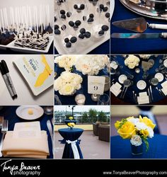 Blue, White, and Yellow Wedding Details Save the dates, table settings, yellow and white flowers!  Tonya Beaver Photography Saint Augustine Wedding Photography