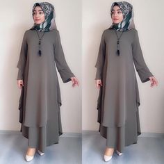 Image may contain: one or more people You are in the right place about Fashion design watercolor Here we offer you the most be. Muslim Women Fashion, Islamic Fashion, Most Beautiful Dresses, Nice Dresses, Abaya Fashion, Fashion Dresses, Dress Outfits, Habits Musulmans, Estilo Abaya