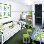 green and white playroom
