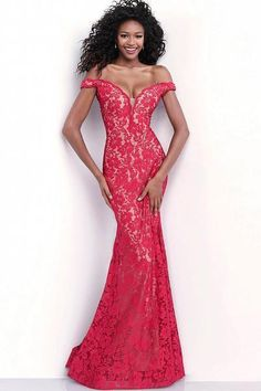 590b8e22f70  490.00 Jovani - 67304 Lace Plunging Off-Shoulder Trumpet Dress With Train  In Red Jovani