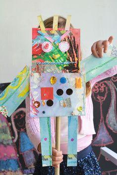 Kinder- geometric shape robot puppets