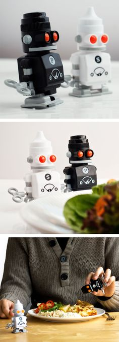 Salt and pepper shaker robots - wind them up and they walk, fun! #product_design