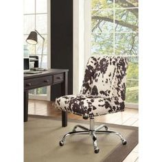 Linon Draper Black Udder Madness Transitional Desk Chair at Lowe's. Add style and function to your office with the Draper office chair. The soft, plush frame is upholstered in a black cow print fabric and features a square Cheap Office Chairs, Best Office Chair, Black Office Chair, Grey Office, Swivel Office Chair, Cheap Chairs, Cool Chairs, Cheap Desk, Wooden Dining Room Chairs