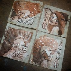 Raw umber/  raw sienna and gesso #102/103/104 and 105 for the #365faces…