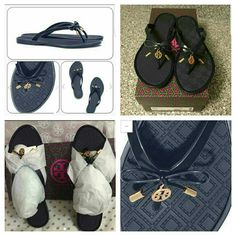 Authentic Tory Burch Sandals Brand New, box and gift bag included! Durable and waterproof, with a unique diamond pattern on footed. Practical style that can go almost anywhere, from city to sea side. Navy and Pink available as well.???? Tory Burch Shoes Sandals