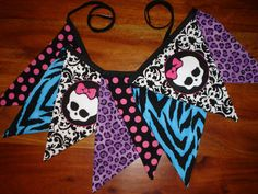 Monster High Inspired Fabric Banner / Fabric Bunting Banner / Fabric Garland / Party Decor / Bedroom Decor / Banner / Photo Prop