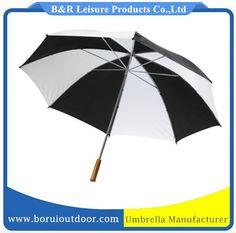 promotional golf umbrella white and black polyester, wood handle manual open_cheap golf umbrellas_large umbrellas