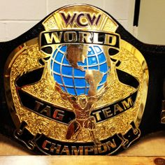 The #WCW World Tag Team Championships. Defended in WCW and #WWE, the titles were active until unified with the WWE Tag Team Championship by The Hardy Boyz.