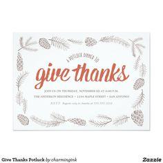 Give Thanks Potluck 5x7 Paper Invitation Card